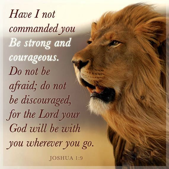 Have I not commanded you Be strong and courageous. Do not be afraid; do not be discouraged, for the Lord your God will be with you wherever you go. Joshua 1:9
