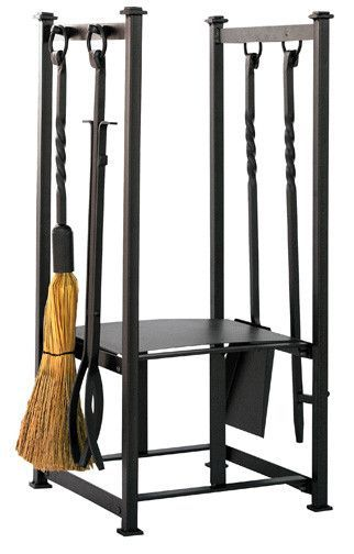 Uniflame Olde World Wrought Iron 4 Piece Fireplace Tools With Log