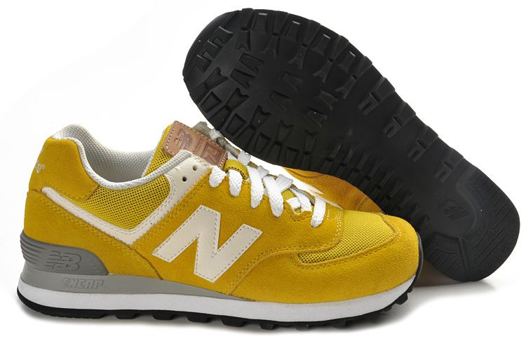 Sale Discount Womens New Balance 574 Yellow White Black Casual shoes Store