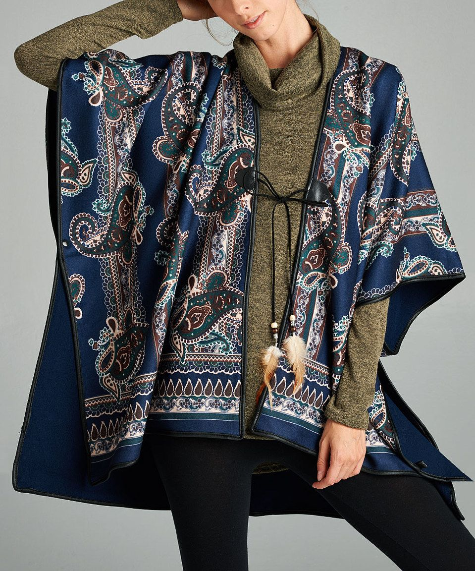 Love, Kuza Navy Paisley Tie-Front Reversible Fleece Poncho by Love, Kuza #zulily #zulilyfinds