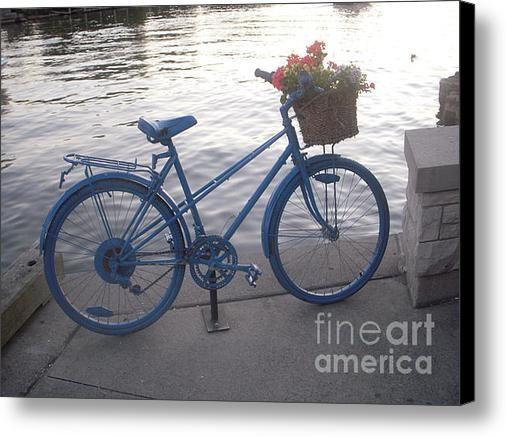 Blue Floral Bike Canvas Print / Canvas Art By Vesna Antic