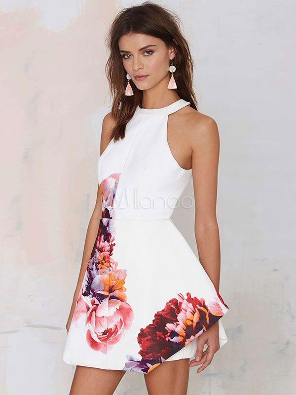 White Skater Dress Floral Print Sleeveless Halter Backless Short Flare Dress  - Milanoo.com 90e03e613