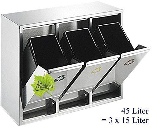 Made for us 45 L Edelstahl Wand-Abfalleimer 3x15 L Mülleimer 3-fach ...