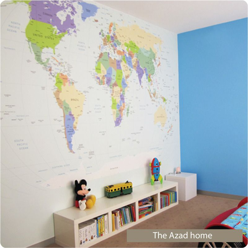 Removable World Map Wallpaper Full In The Azad Home Camerette - World map for boys room