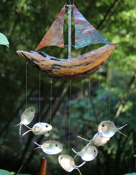 Sailing Spoon Five or Seven Fish Drift Wood Ship, Windchime Copper, Sailboat, Handmade Wood Boat, Vert Green Sea Blues, Nautical Couple Gift