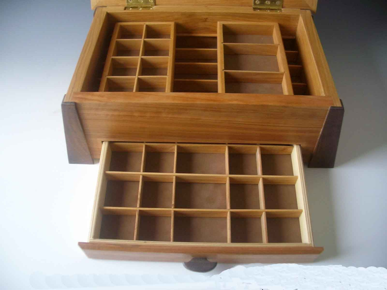 handcrafted wood jewelry box with inlay banding Boxes