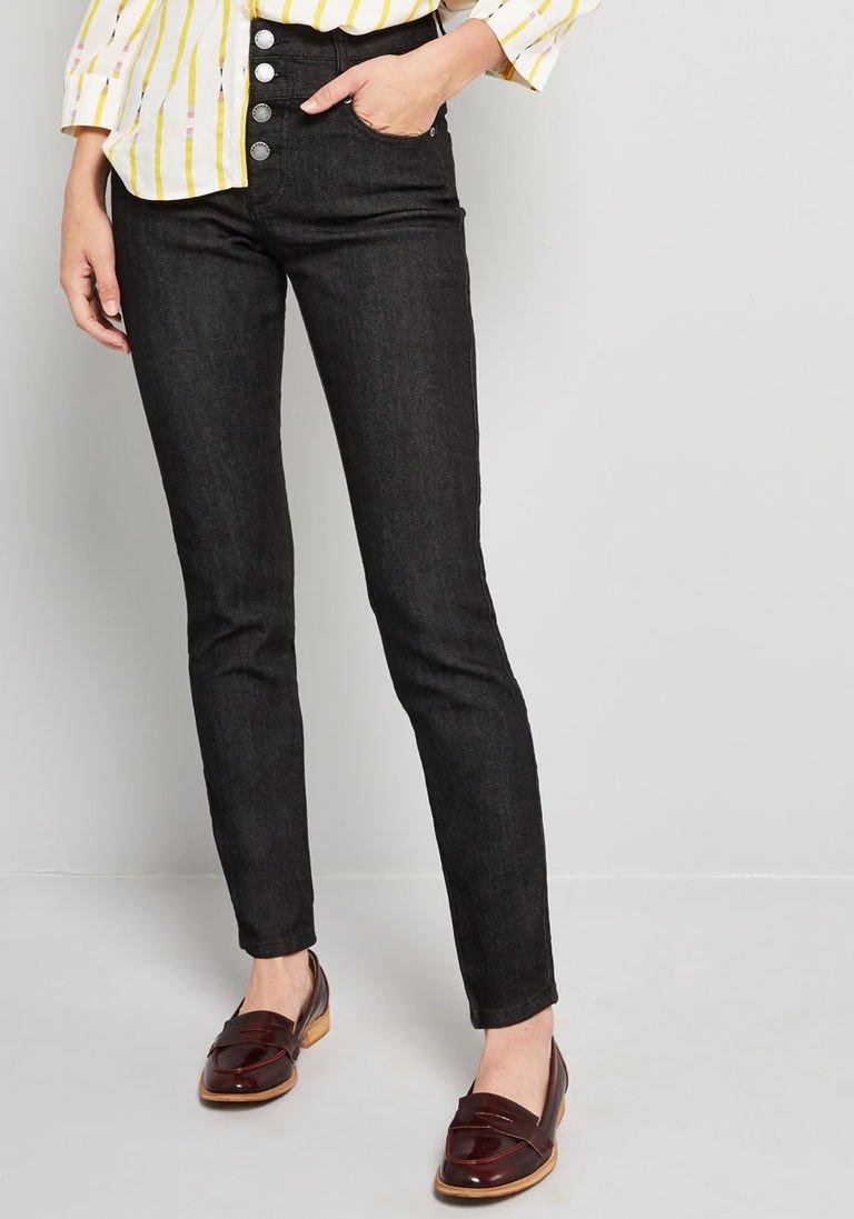 73921780de3b Karaoke Seamstress Buttoned Skinny Jeans in Black Wash - 30 in. in 12 - Skinny  Denim Pant Ankle by ModCloth