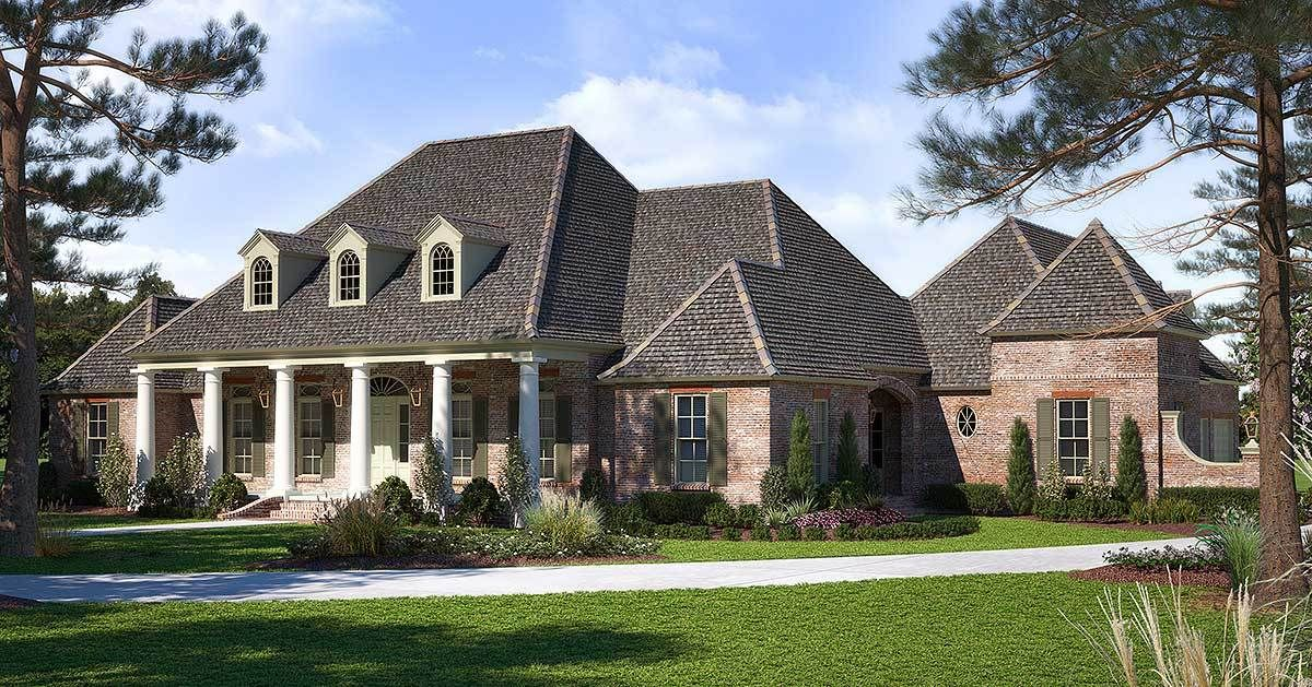 Plan 56410sm Luxurious Acadian House Plan With Optional Bonus Room Acadian House Plans French Country House Plans Madden Home Design