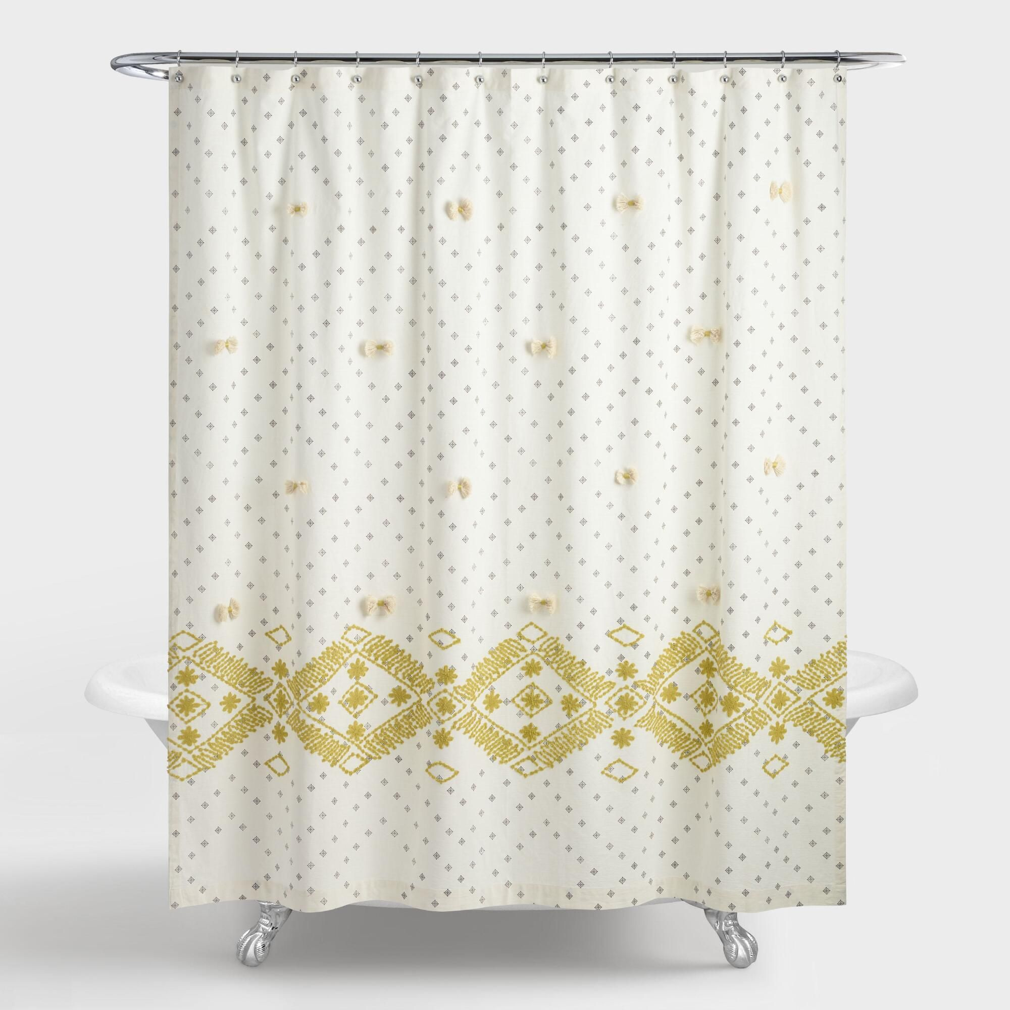 Cress green and gray embroidered siya shower curtain by world market