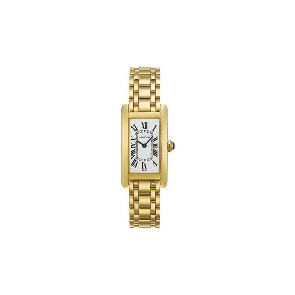 Cartier Tank Américaine Small Quartz Yellow Gold (W26015K2) ❤ liked on Polyvore featuring jewelry, 18k gold jewelry, quartz jewelry, gold jewellery, art deco jewelry and 18k jewelry