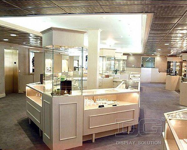 JK40 HIgh End White Jewelry Kiosk Showcase