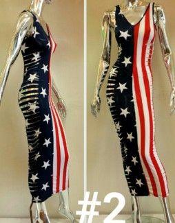 Women long American flag print color dress