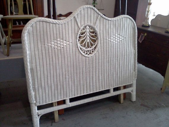 Vintage Wicker Queen Headboard, Shabby Beach White Digging this for ...