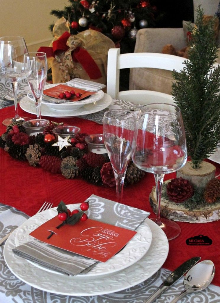Decoraci n r stica de la mesa de navidad troncos de for Decoraciones rusticas para navidad