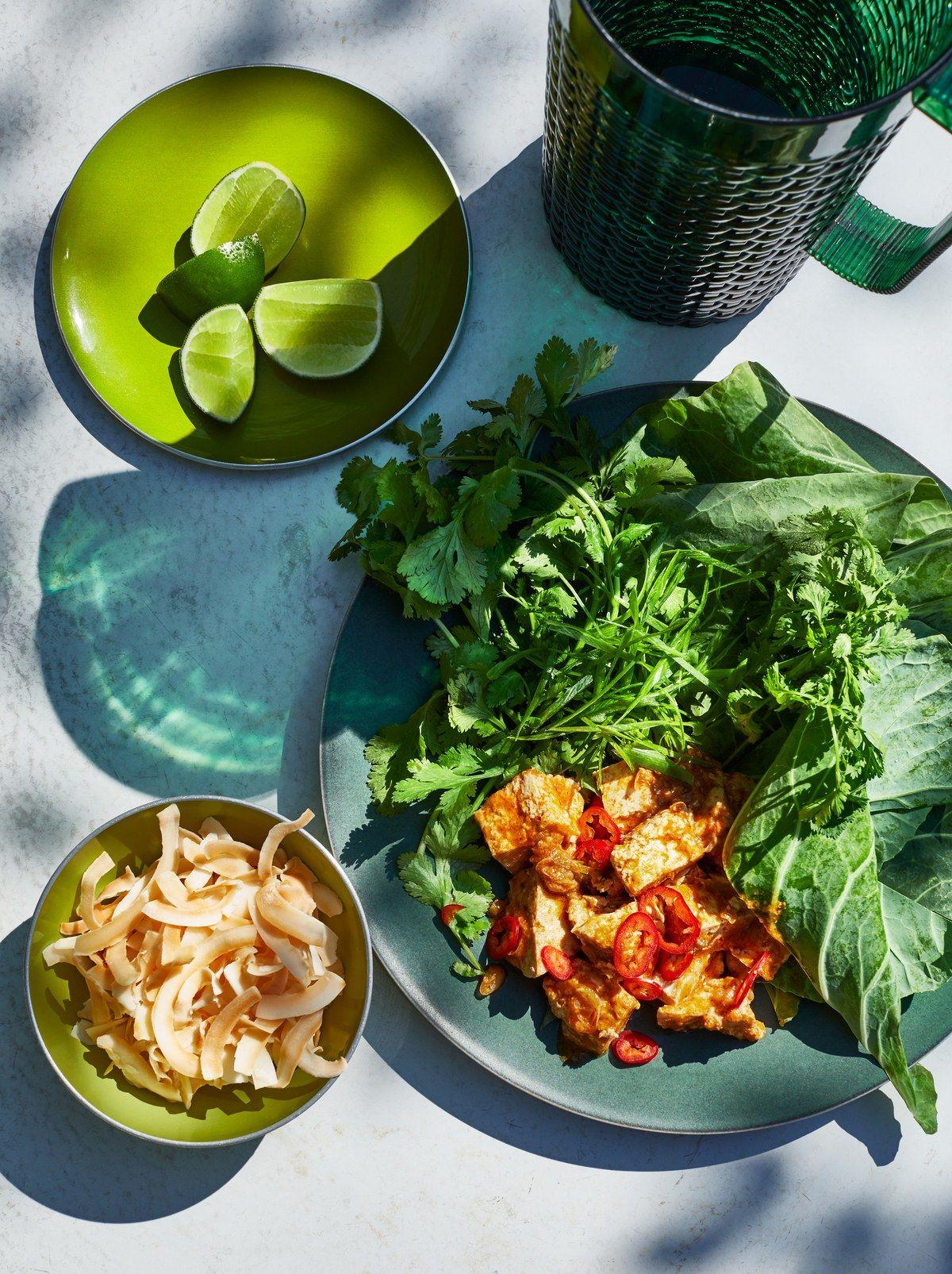 75 Healthyish Super Bowl Recipes Bon Appetit Tofu Wraps Vegan Dinner Recipes Collard Green Wraps
