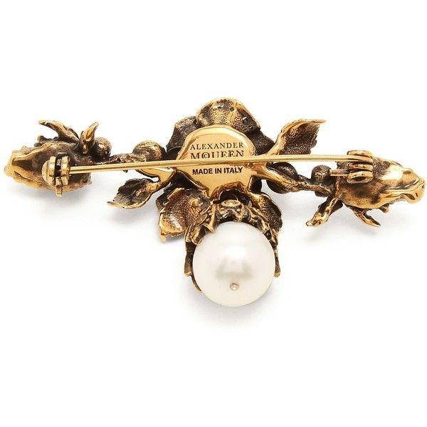 Alexander McQueen Faux-pearl drop pin brooch A1jIfpf