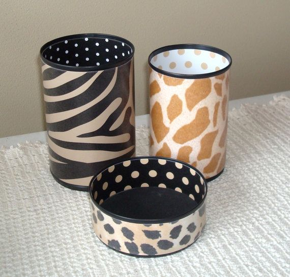 African Animal Print Desk Accessory Set Zebra Cheetah Giraffe Pencil Holder Tin Can Organizer Office Decor Gift For Coworker 893