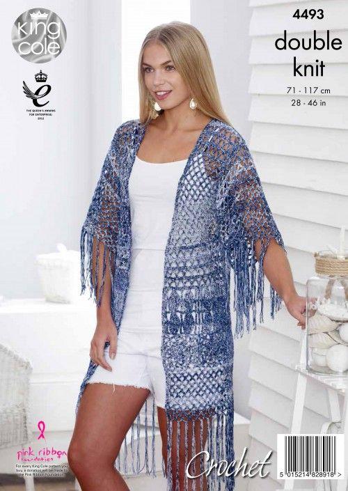 King Cole Womens Cardigan and Waistcoat Crochet Pattern Vogue Yarn DK 4493