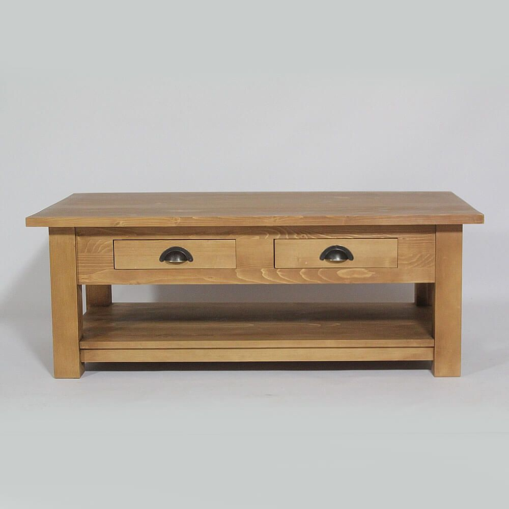 Table Basse Bois Massif 2 Tiroirs Cire Miel Made In Meubles In 2020