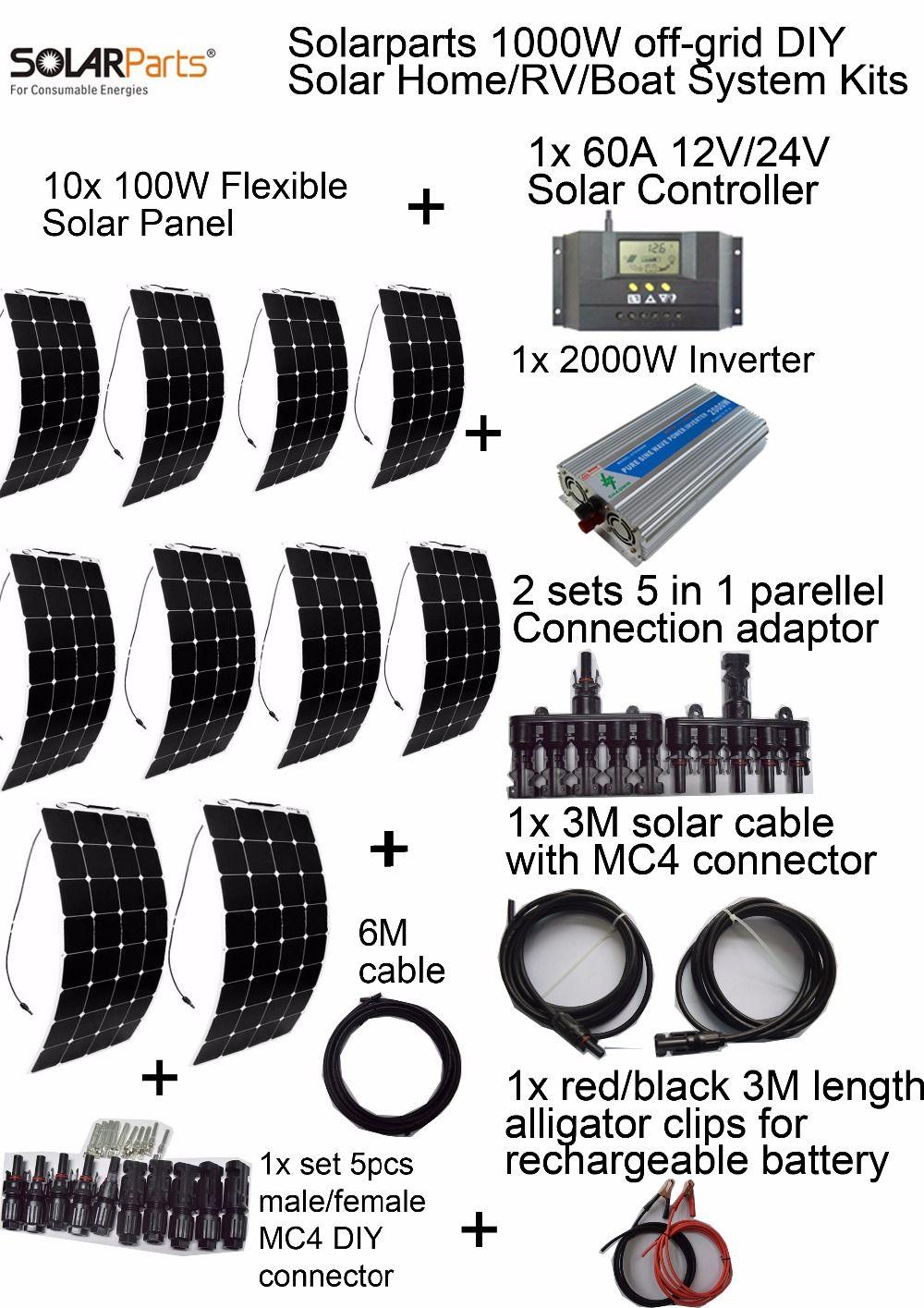 goedkope solarparts off grid zonnestelsel kits 1000 w flexibele zonnepaneel 1 stks 60a