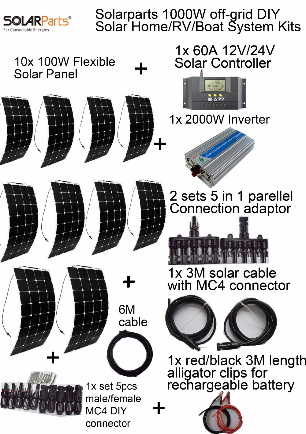 Goedkope Solarparts Off Grid Zonnestelsel Kits 1000 W Flexibele Zonnepaneel 1 Stks 60a Controller 2kw Inver Flexible Solar Panels Solar System Kit Solar Panels