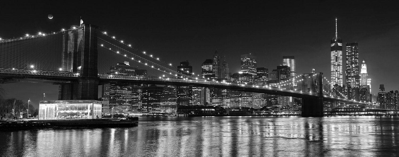 Brooklyn Bridge New York City at night Photo Wallpaper Decor Wall Background