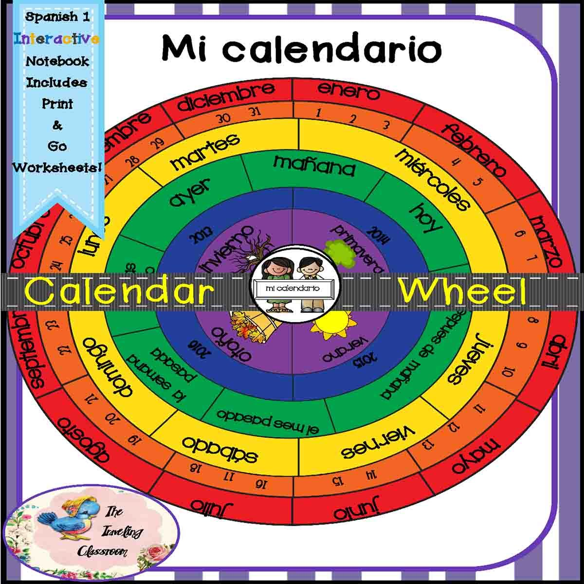 This interactive notebook set includes:  Mi calendario y la fecha- My Calendar Wheel and Date- months, seasons, years, days - all on a calendar wheel! Mix & match wheels to suit your needs. Includes full size pictures, anchor chart, quizzes, print & go worksheets, instructions, flippables, foldables, games, and extra credit challenges.$
