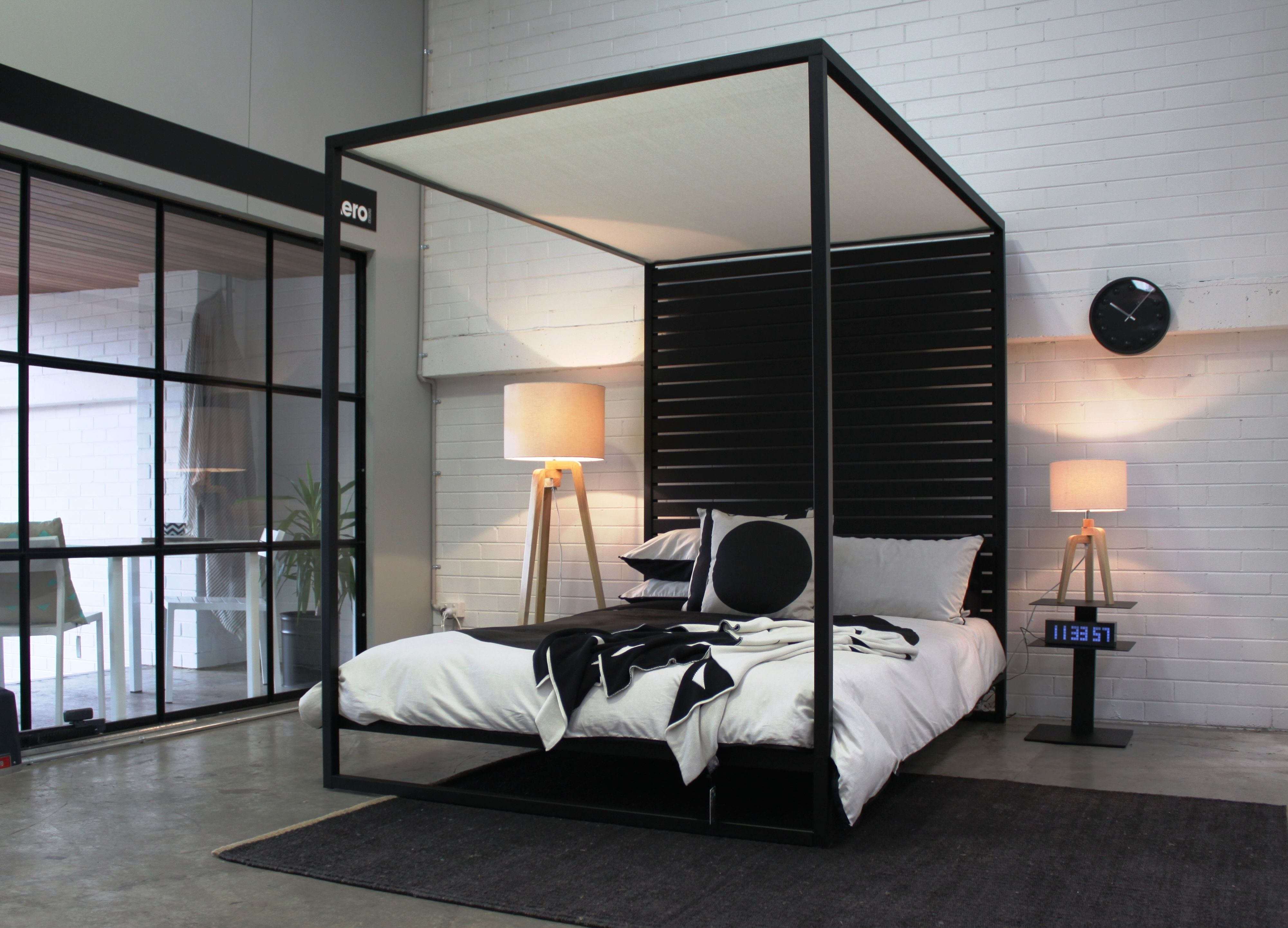 Modern Four Poster Beds the four poster bed in textured black powder coat. a modern take