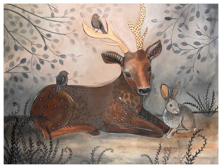 Forest Animal Scene Wall Art Forest Wall Art Woodland Canvas Forest Painting