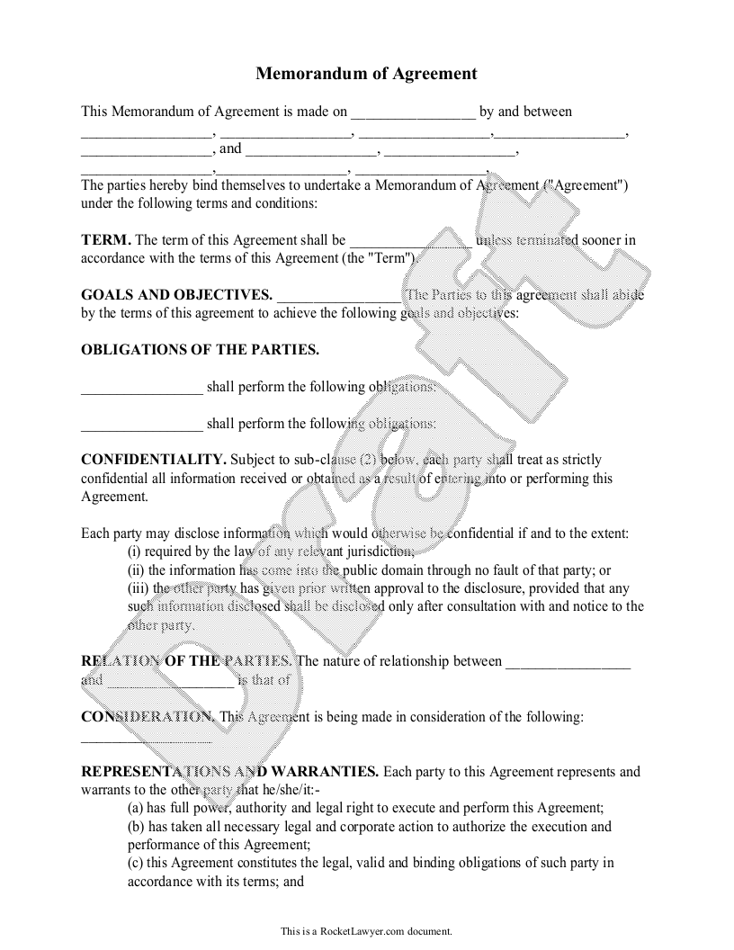 Sample Memorandum Of Agreement Form Template  Pace Resources