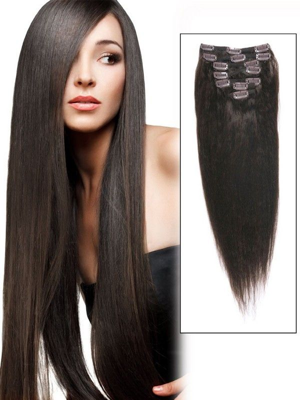 Straight Clip In Hair Extensions 1b Natural Black Extensions