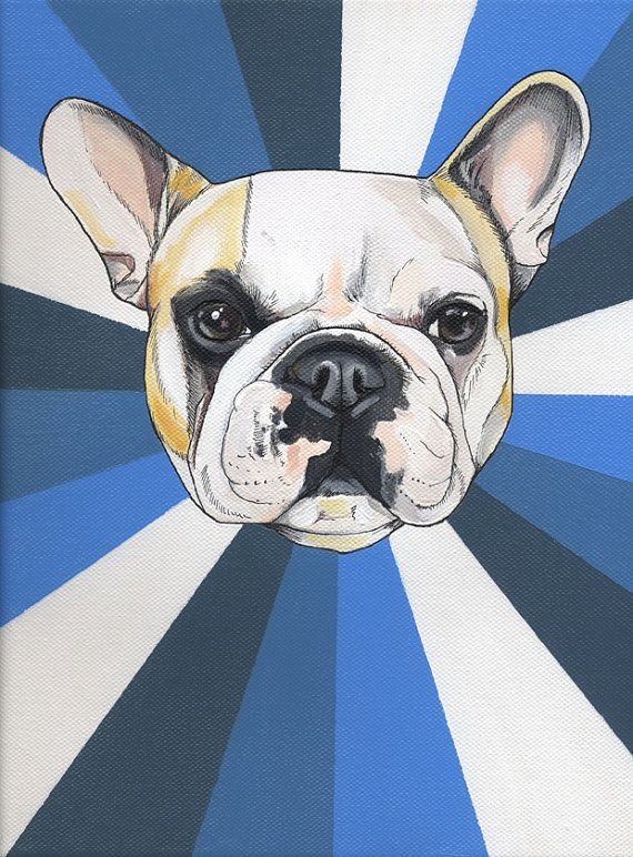 Rainbow Frenchie acrylic painting on cotton canvas by blackspecs