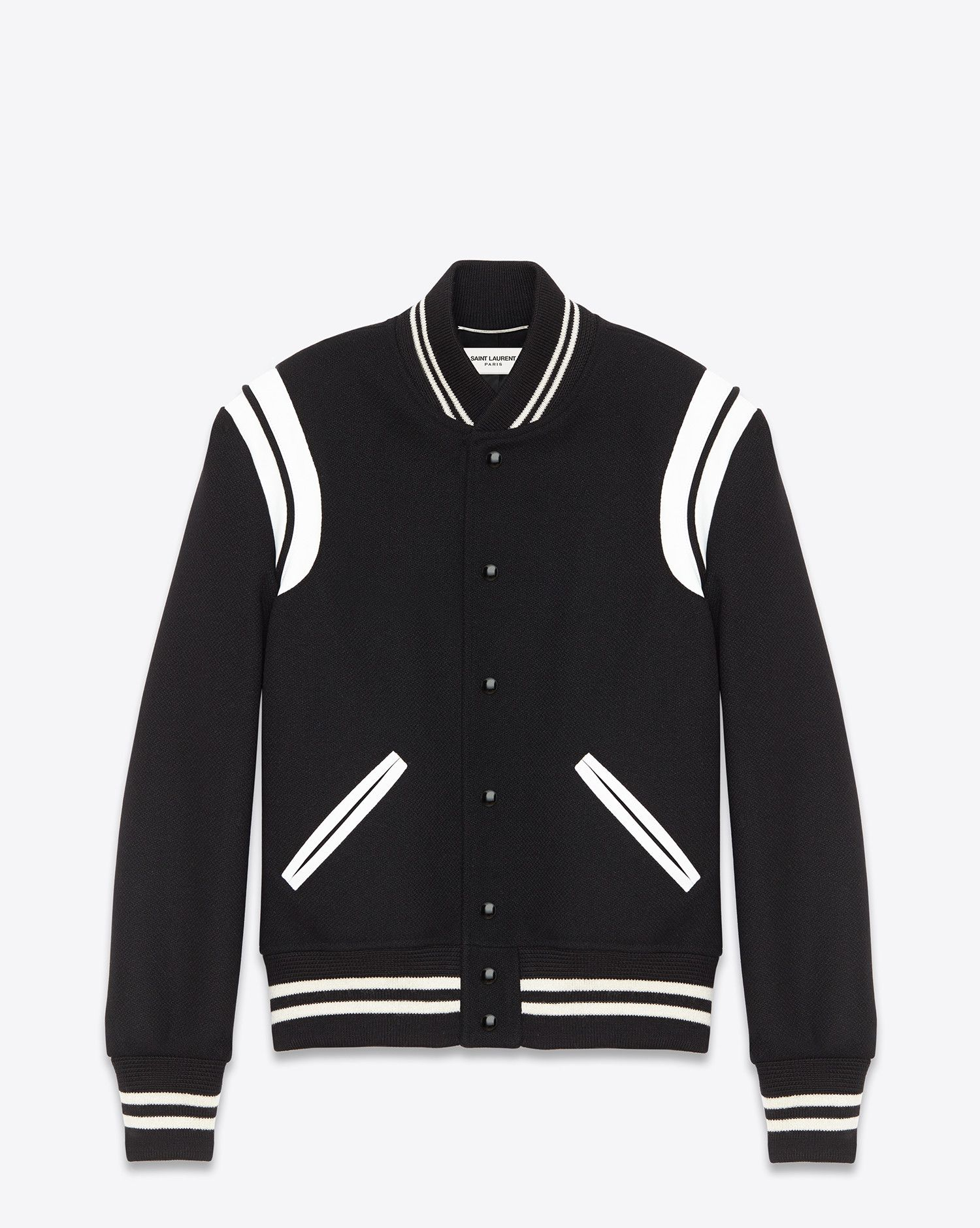 40257acaf553 Saint Laurent TEDDY JACKET IN Black Virgin Wool And Off White LEATHER