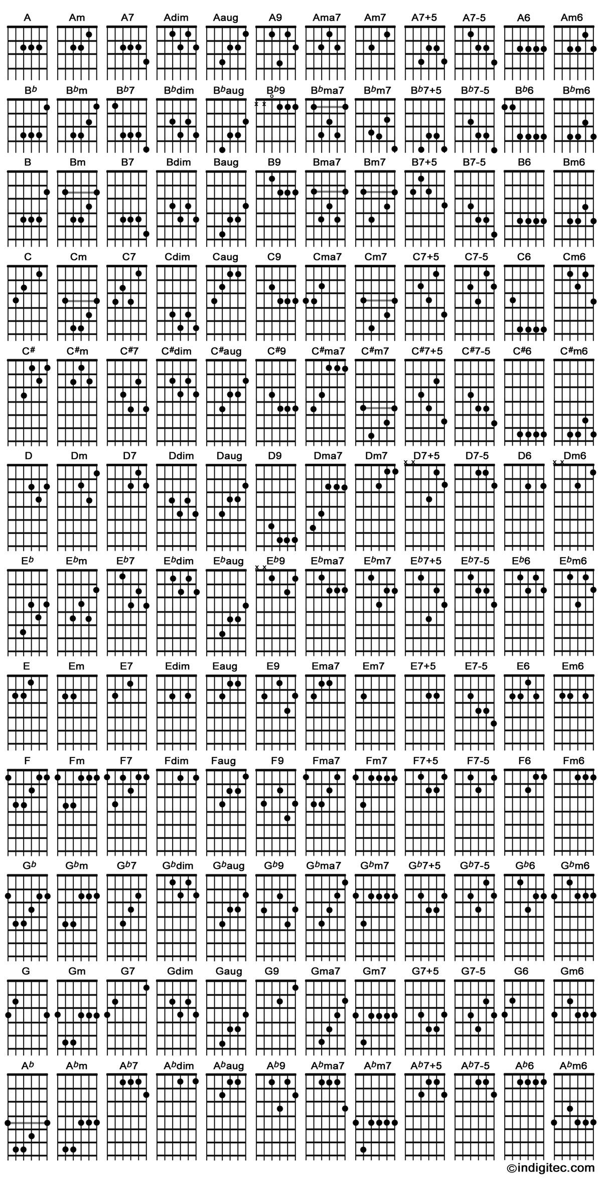 Acoustic Guitar Notes Chords for le b...