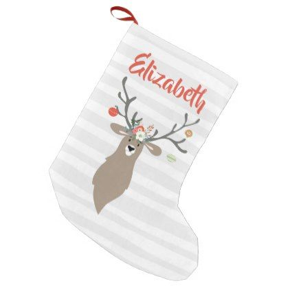 personalized christmas whimsical stag deer small christmas stocking diy cyo customize personalize design - Small Christmas Stocking Decorations