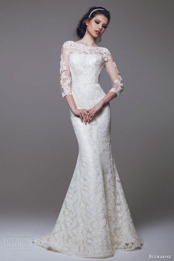 Blumarine Bridal 2015 Beautiful Lace Sheath Wedding Dress Sleeves Bride