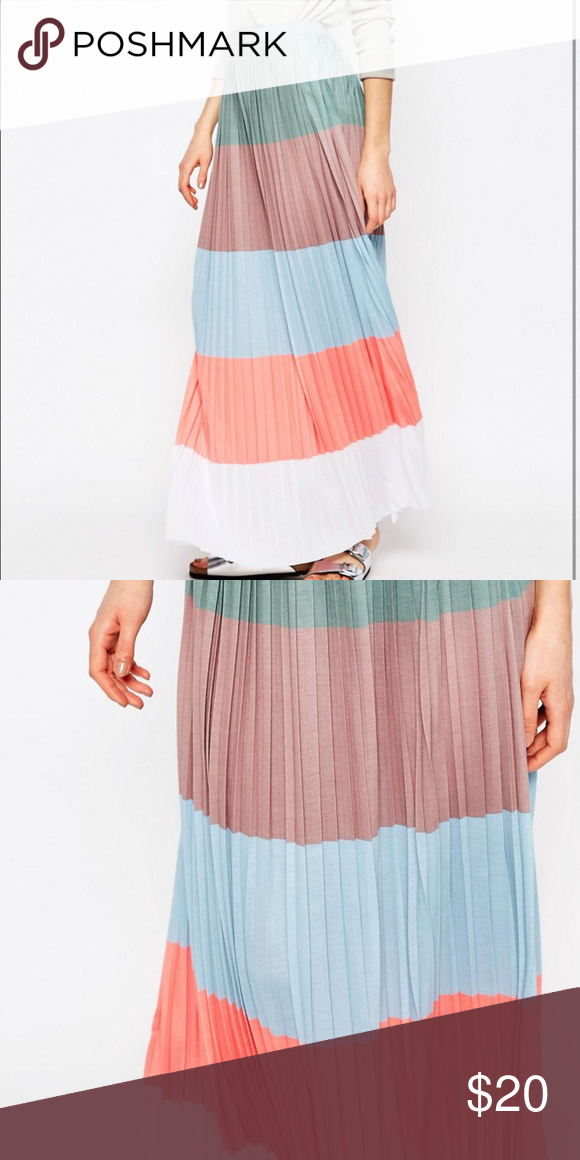 4610fc1264 ASOS NWT color block maxi pleated skirt. Never been worn / open from bag.  New pleated color block maxi skirt. Asos Skirts Maxi