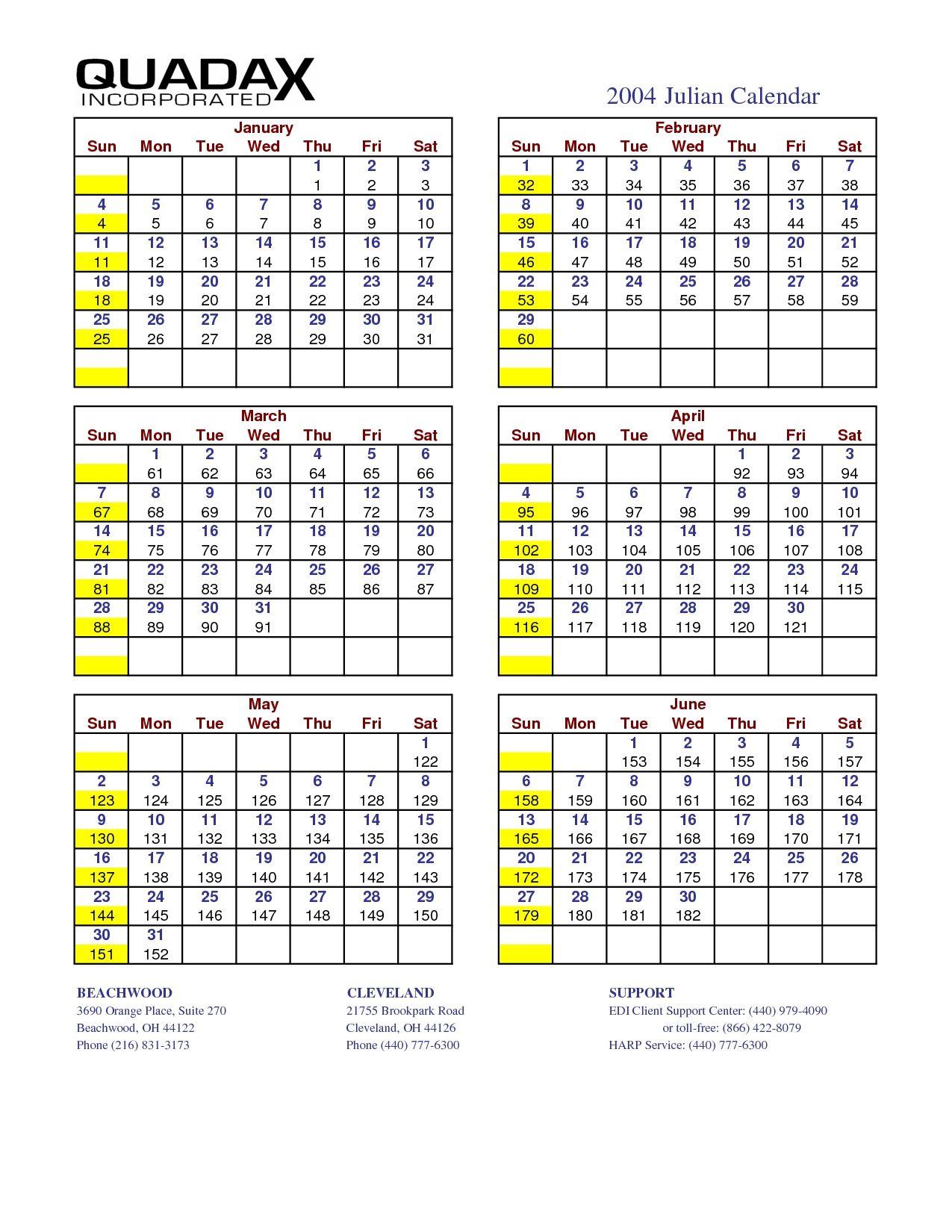 Perfect Quadax Julian Date Calendar 2021