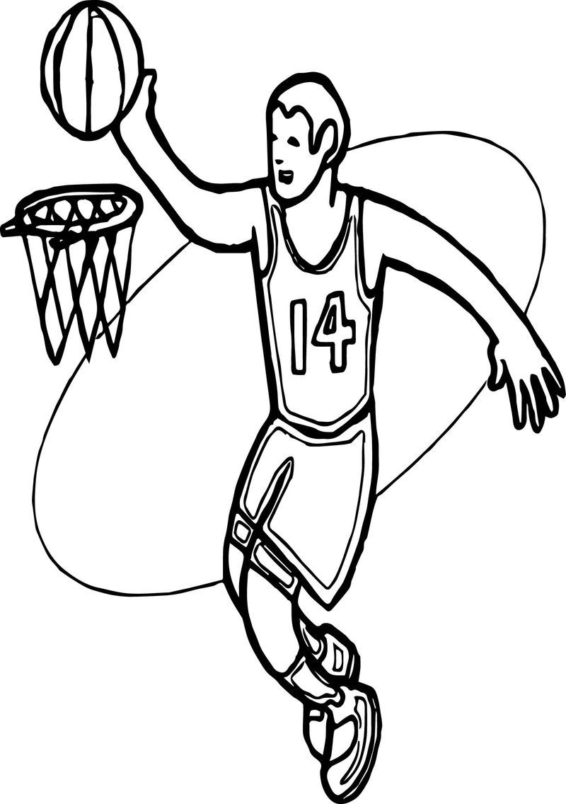 Basket And Man Playing Basketball Coloring Page Also See The