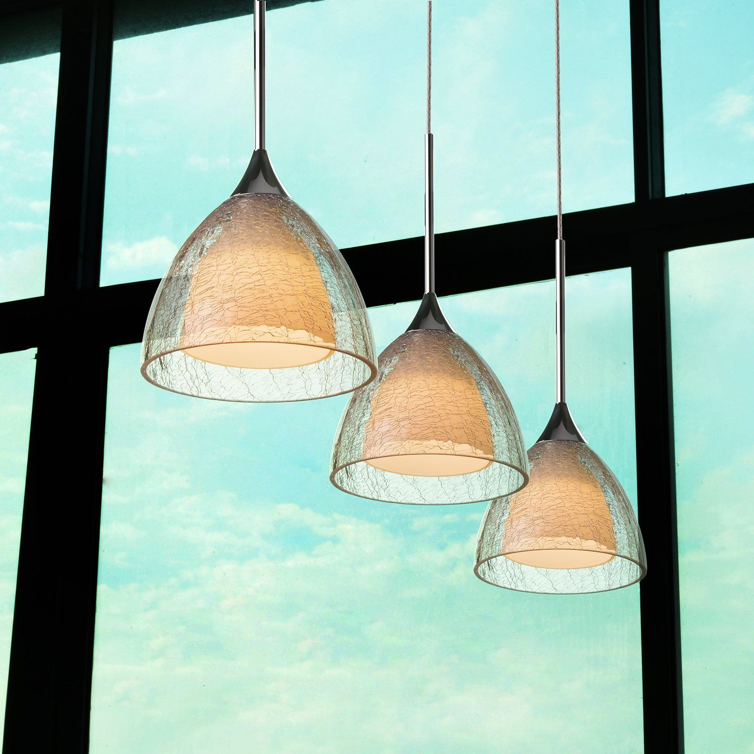 OBSESS 5W LED One-Light Adjustable Mini Pendant Light with Handblown Crack Glass Shade and Aluminium Trim, Polished Chrome(Kitchen/Bar Pendant Light, Dimmable, 4-Inch Ceiling Canopy) ¡ - - Amazon.com