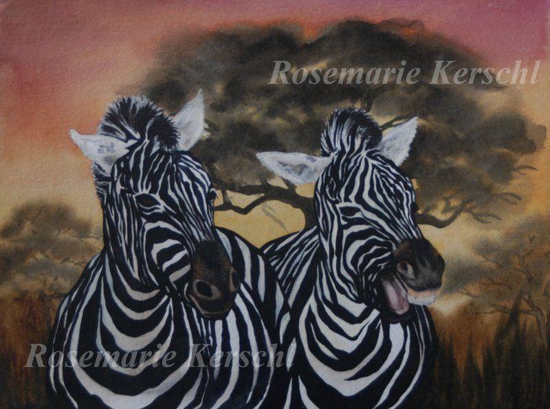 Zebras von ·.¸¸.·´´¯`··._.·☆  Galerie Rosemarie Kerschl  ☆ ·.¸¸.·´´¯`··._.· auf DaWanda.com