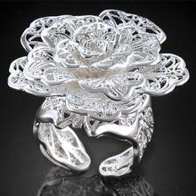 1 unid joyería caliente elegante Silver Plated mujeres anillos abiertos forma grande de la flor dulce anillo de plata para el partido tamaño ajustable(China (Mainland))