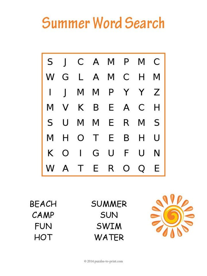 This Easy Summer Word Search Puzzle Will Give Young Children A Little Something To Keep Them Happily Occupied While They Are Learning