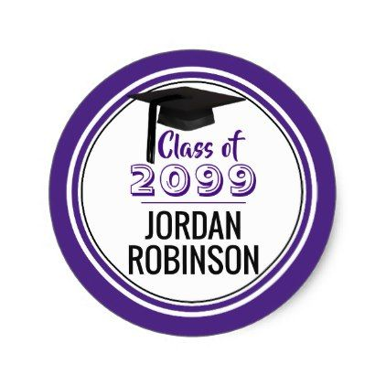 Class of grad cap year editable purple classic round sticker grad cap and round stickers