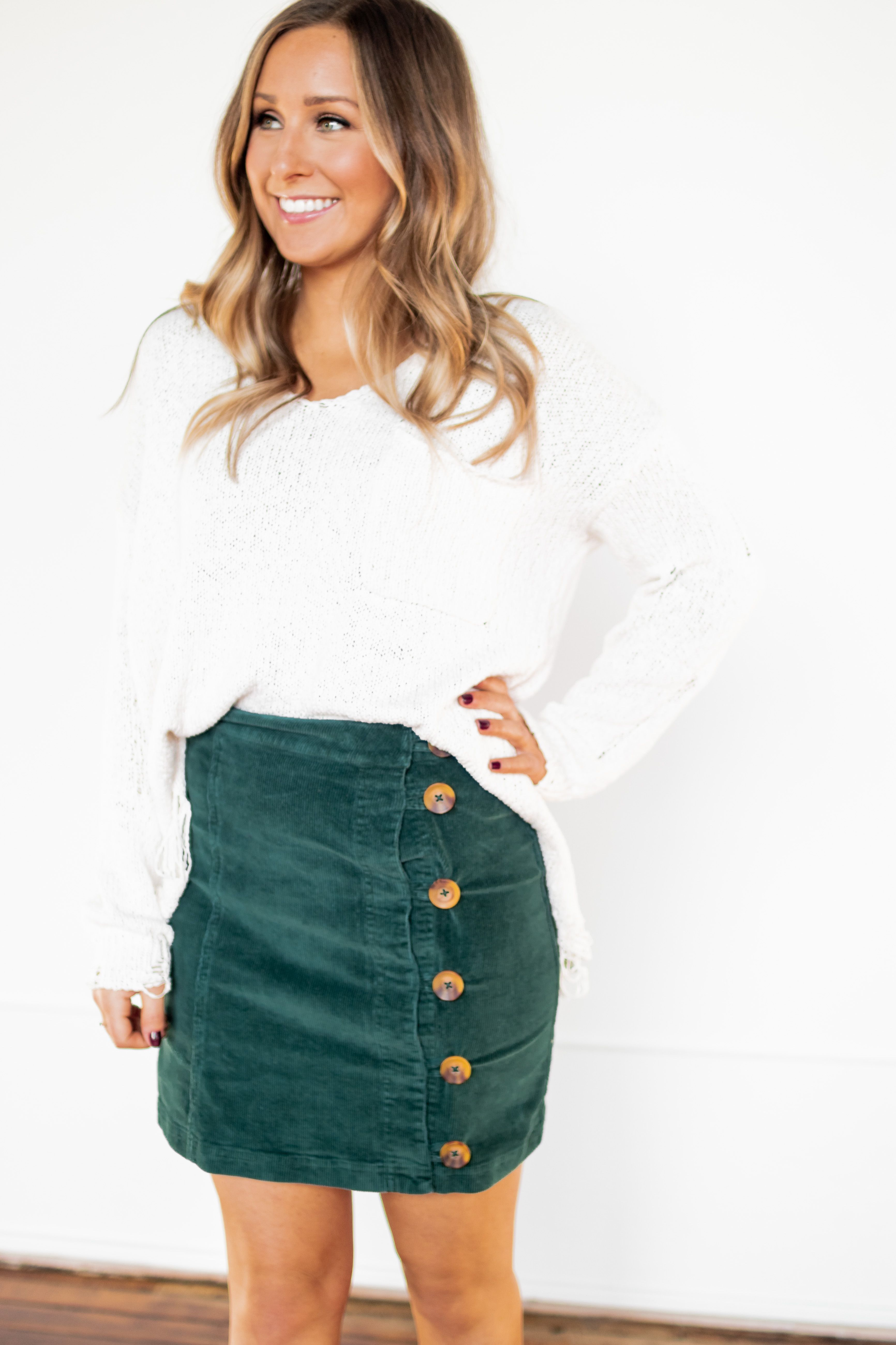 d8ae1bcf04a0 Winter Outfit Ideas   What to Wear for Winter  Layering for Winter  Button  Skirt   Lane 201 Boutique