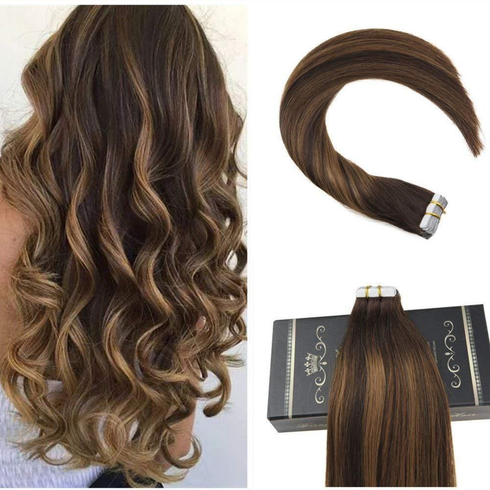 New Ugea 20pcs Ombre Tape In Hair Extensions Dark Brown Highlights