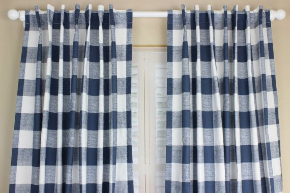 Navy Blue Buffalo Plaid Curtain Panel Set Plaid By Twodreamsathome