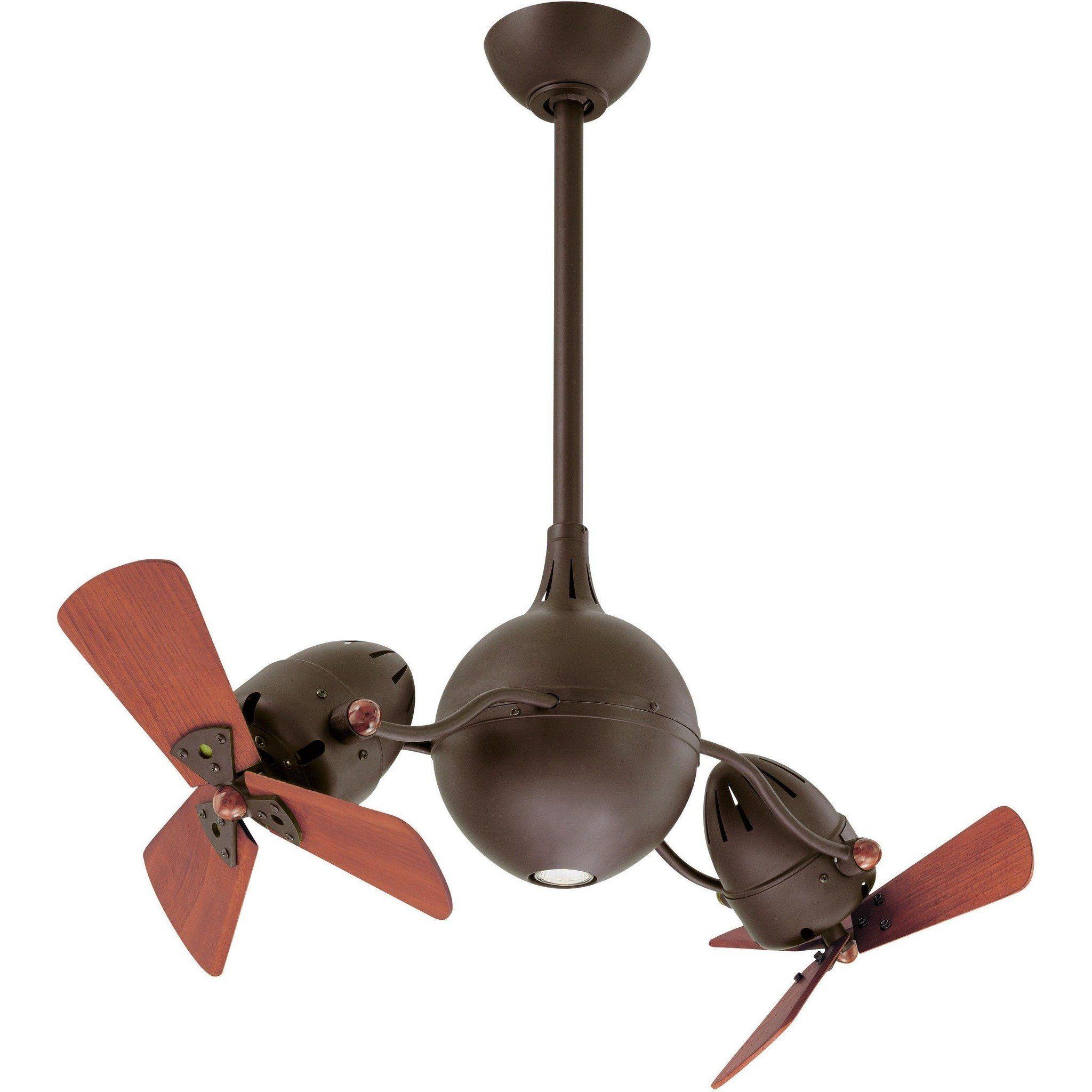 Acqua Dual Ceiling Fan Textured Bronze Wood Blades