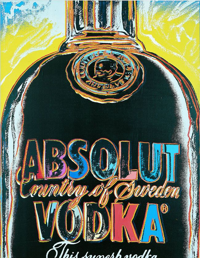 Andy Warhol, Absolut Vodka, 1985. Acrylic on canvas, 124 x 96.6 cm. Courtesy of Galerie Terminus, Munich.