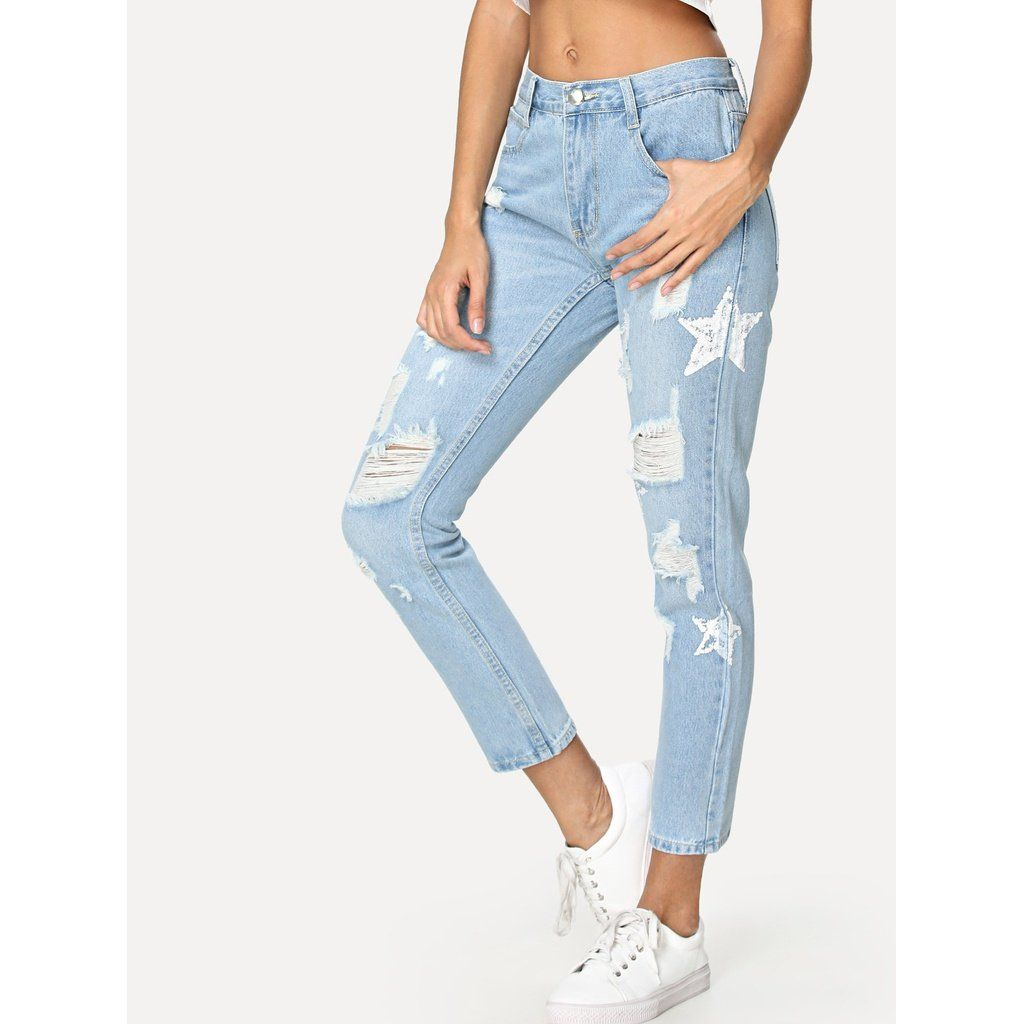 Star Pattern Ripped Jeans Womens Ripped Jeans Ripped Jeans